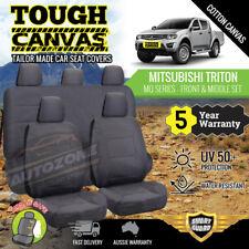 Canvas Seat Covers for Mitsubishi Triton MQ MR Series Dual Cab 01/2015 -On 2Rows