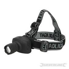 Silverline LED Head Torch with Spotlight to Floodlight Zoom Function