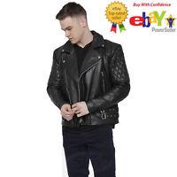 Uk Stock Men's Black Brando Vintage Motorcycle Real Leather Quilted Biker Jacket
