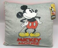 Disney MICKY MOUSE Pillow NEW 90th Anniversary Vintage Style soft plush gray red