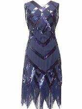 Great Gatsby Flapper Downton Charleston 1920s Sequin Tassle Hem Dress 8 - 24 Size 22 Dark Blue