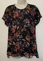 DR2 Daniel Rainn Small Tunic Blouse Black & Red Floral Short Sleeve Scoop Neck