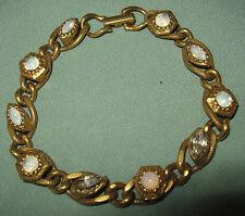 FS Vintage GOLDETTE NY SIGNED BRACELET w MOONSTONE RHINESTONES GLASS Heavy Goldt