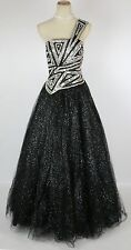 NWT Terani Black Ball Long 1 Shoulder Gown Size 4 Prom Formal $420 Cruise Dress