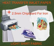 20sheets A4 Iron Heat Transfer Paper For Light Cotton Shirt + 2.5mm Chipboard
