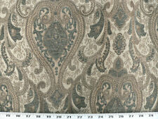 Drapery Upholstery Fabric Sussex Traditional Chenille Jacquard - Blue-Green