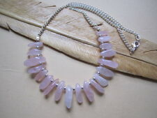 Rose Quartz Gemstone Nugget Teeth Silver Plate Lagenlook Bib Necklace Unique
