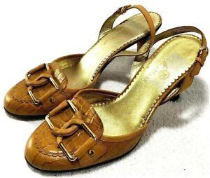 Cole Haan Slingback Sandal Pum Tan Leather Buckle Heel  D18141 Womens Size 6.5 B