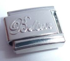 BELIEVE Italian Charm - 9mm Silver Shiny Faith Hope Love fits Starter Bracelets