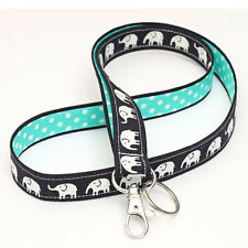 Cute ID Lanyard Badge Strap Fabric Key Holder - black elephants turquoise dots