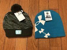2 NWT girls UNDER ARMOUR winter Hats Glow in the Dark Beanie, Pom Pom $50 Valu