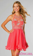 69b4b7a657682 Blush Prom By Alexia 9882 Embellished Halter Homecoming Dress Persimmon Pink  2