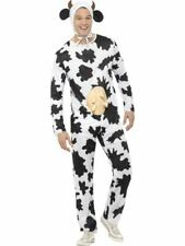 Adult Cow Costume All In One Mens Ladies Animal Fancy Dress Farm Outfit Stag Hen