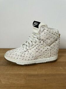 Womens Nike Dunk Ski High Trainers White Pattern Wedge Lace Up Size 4