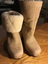 New UGG Australia Carnagie Studded Lambswool Lined Booties Wedge Boots Genuine 9