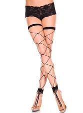 Black Footless Big Diamond Net Thigh Hi Stockings Sexy Designer Lingerie P4800