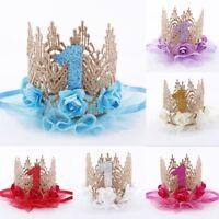 Baby Girls Boy First 1st Birthday Party Flower Crown Hat Headband Hairband QS