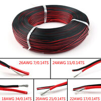 2 Pin 18 20 22 24 26AWG Black Red Cable Extension Wire Cord 3528 5050 5630 LED