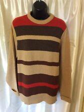 PENDLETON Vintage Sweater Brown orange tan Virgin lambs Wool L Pullover USA BID!