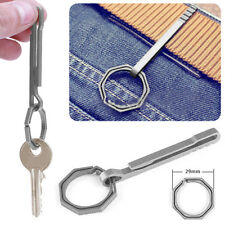 EDC Titanium Alloy Hook Keychain Key Ring Locking Carabiner Hang Buckle Clips
