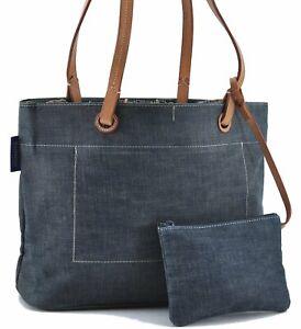 Authentic Burberrys BLUE LABEL Shoulder Tote Bag Denim Canvas Leather Blue E3066