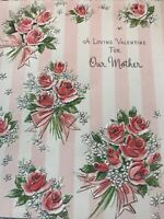 Vintage Valentines Day Card Pink Stripes Roses Silver Glitter Bouquet Gibson