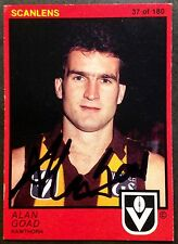 1982 SCANLENS VFL CARD PERSONALLY SIGNED BY ALAN GOAD HAWTHORN