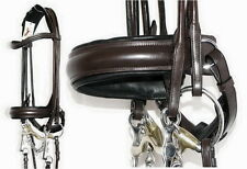 FSS German ROLLED Comfort CURVE Padded Crank DOUBLE WEYMOUTH Bridle BROWN BLACK