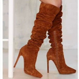 Women's Suede Knee-high Boots High Heels Pointed Toe Stiletto Shoes US 4.5-12.5