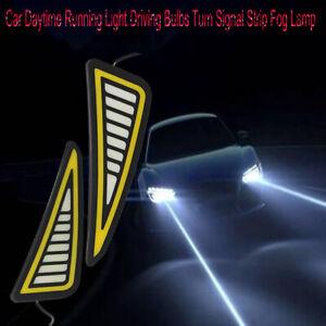 2PCS Car DRL LED Daytime Running Light Turn Signal Strip Fog Lamp Ultra-thin