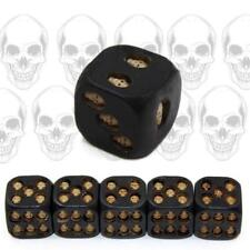5x Resin Death Skull Dice Square Bar tool Black Table Game Dice 6 Sided CF