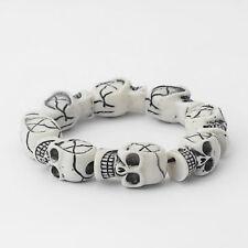 1 x Fashion Men's White Resin Skull Heads Elastic Wristband Bracelet Bangle
