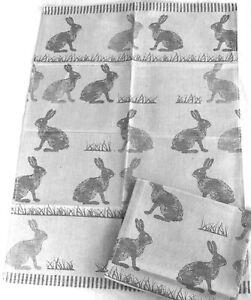 2x Geschirrtücher Hasen Kracht Küche Tücher HalbLeinen Kaninchen Jagd Tiere Grau
