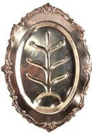 Vintage Eton Oval Silver Plate Meat Serving Platter Footed Tray w/ Tree Design