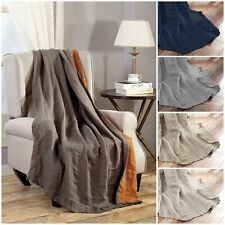 """Pre-Washed Belgian Flax Linen Throw Blanket Soft Lightweight Reversible 50""""x70"""""""