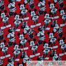 BonEful FABRIC FQ Cotton Quilt VTG Red Black White Disney Mickey Minnie Mouse US