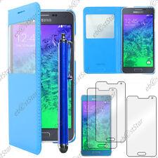 Housse Etui Fenêtre View PU Cuir Bleu Samsung Galaxy Alpha + Stylet + 3 Films