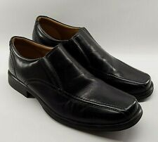CLARKS Mens Dress Shoes UK 7 Black Slip On Leather Cushion Cell School or Work