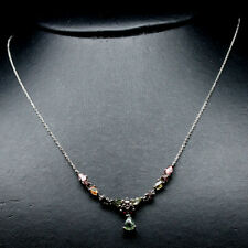 """NATURAL FANCY COLOR TOURMALINE & WHITE CZ STERLING 925 SILVER NECKLACE 20"""""""