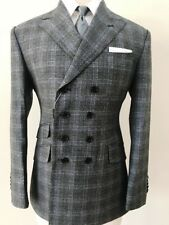 Grey super 150 Cerruti 8 button military style wide peak lapel wool suit