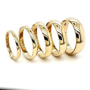 Solid 10K Yellow Gold 2mm 3mm 4mm 5mm 6mm 7mm 8mm Men Women Wedding Band Ring