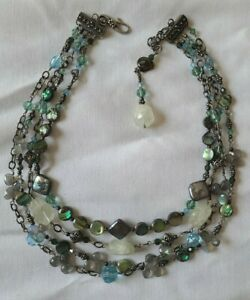 """Tres Jolie Silver, Stone and Crystal Aquamarine Multi Strand .925  13"""" Necklace"""
