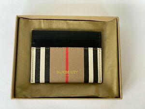 Burberry Card Case Icon Stripe Leather E-canvas 100% Genuine New Checkered Beige