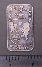 "Vintage 1984 ""Be My Valentine"" .999+ Troy Ounce Pure Silver Bar"