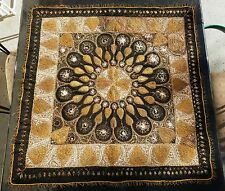 Victorian Heart Flower Gold Metallic Thread Embroidery Mughal Tapestry Art