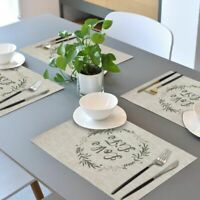 "Placemats Washable Set of 4 Heat-Resistant PVC Table Mats Woven 17.7x11.8"" Beige"
