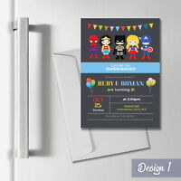 Personalised Magnetic Superhero Party Invites & Thank You Cards A6 Fridge Magnet