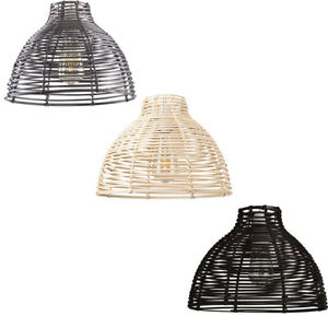 Woven Design Ceiling Pendant Light Shades Cream / Brown / Grey Rattan Easy Fit