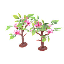 2pcs 9cm Flowering trees Railway Park HO SCALE Layout Scenery Decor   SN