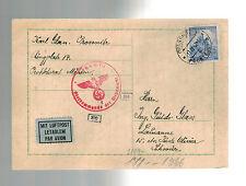 1942 Prossnitz Bohemia Moravia Postcard Cover Guido Glass Switzerland Maildrop
